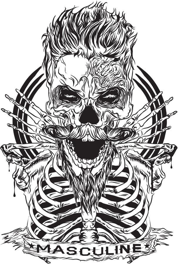 Diseños que representan el pelo fresco del cráneo imagen de archivo