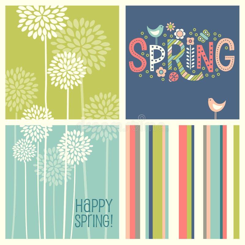 Diseños retros de coordinación alegres de la primavera libre illustration