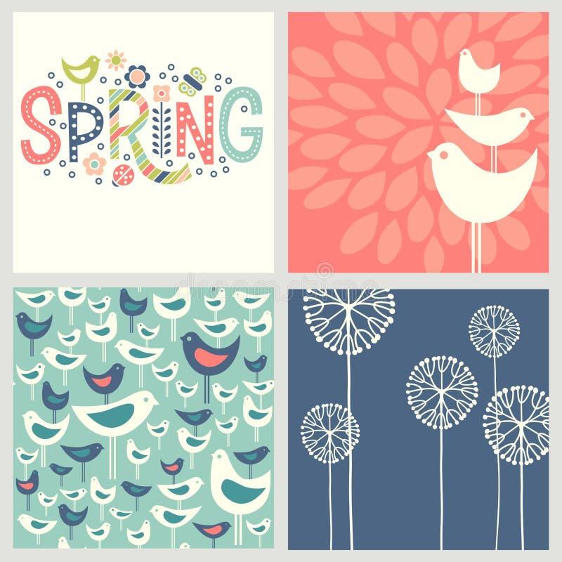 Diseños retros de coordinación alegres de la primavera stock de ilustración