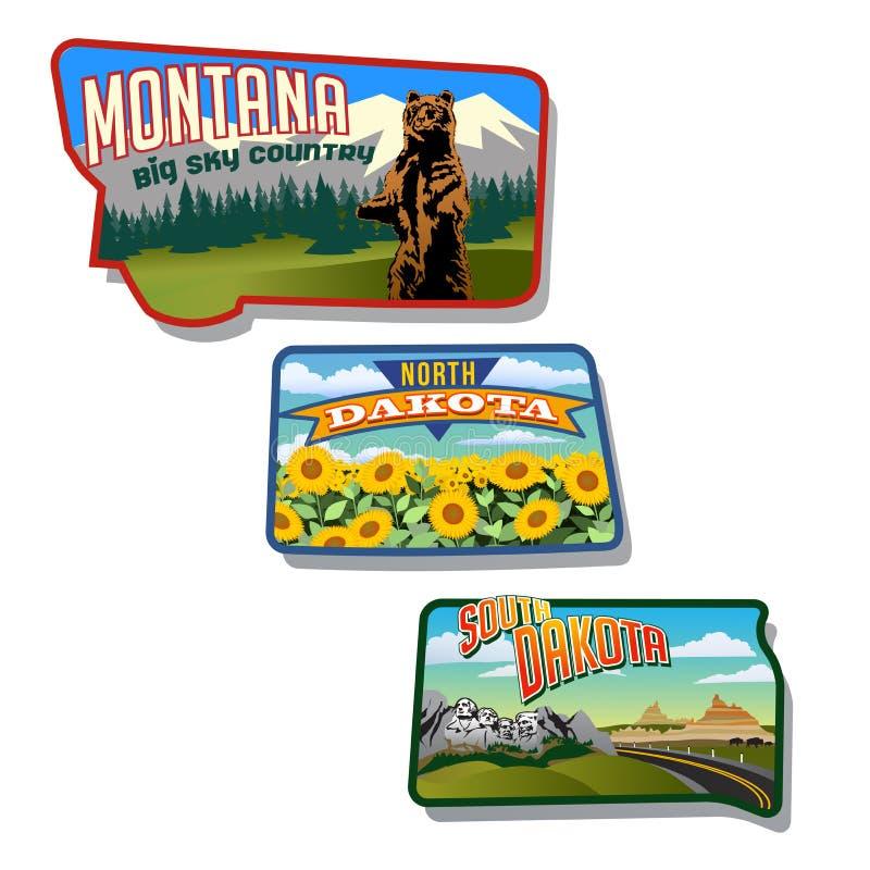 Diseños retros de Montana, Dakota del Norte, Dakota del Sur, Estados Unidos ilustración del vector