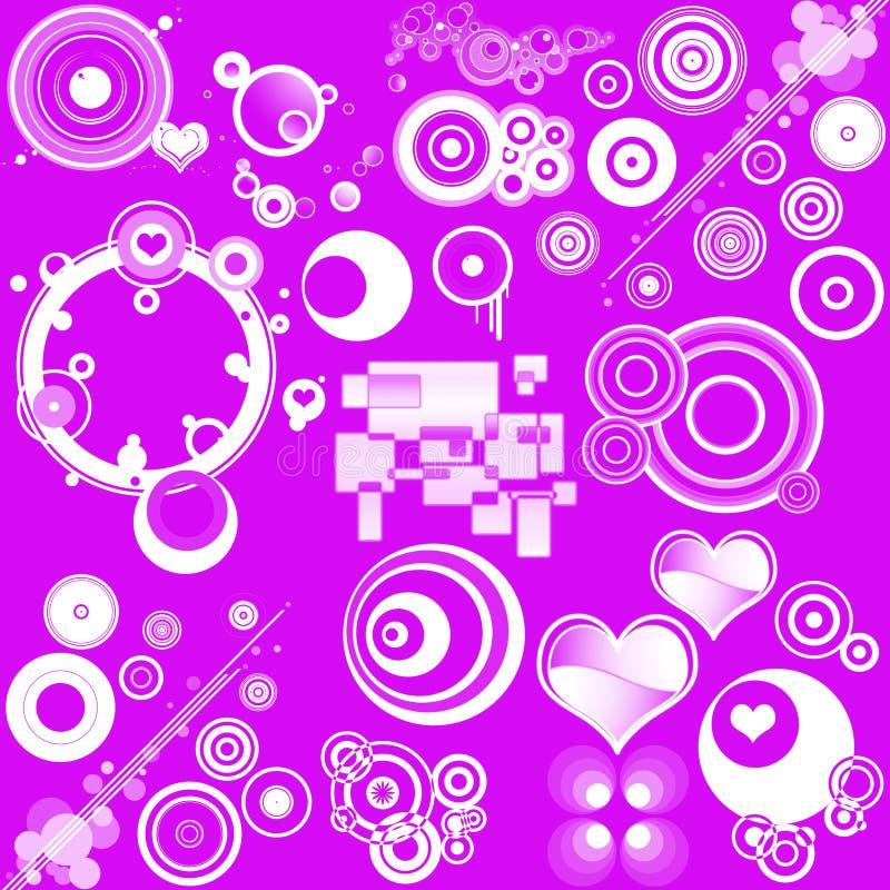 Diseños y corazones retros libre illustration