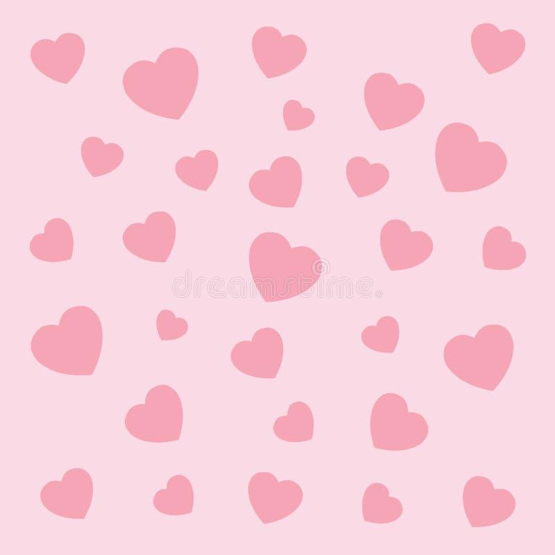 Dise?o abstracto del papel pintado de Pettern de la textura del coraz?n en fondo rosado ilustración del vector