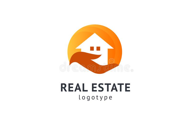 Dise?o abstracto del vector del icono del logotipo del agente inmobiliario Alquiler, venta del logotipo del vector de las propied stock de ilustración