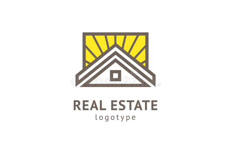 Dise?o abstracto del vector del icono del logotipo del agente inmobiliario Alquiler, venta del logotipo del vector de las propied ilustración del vector