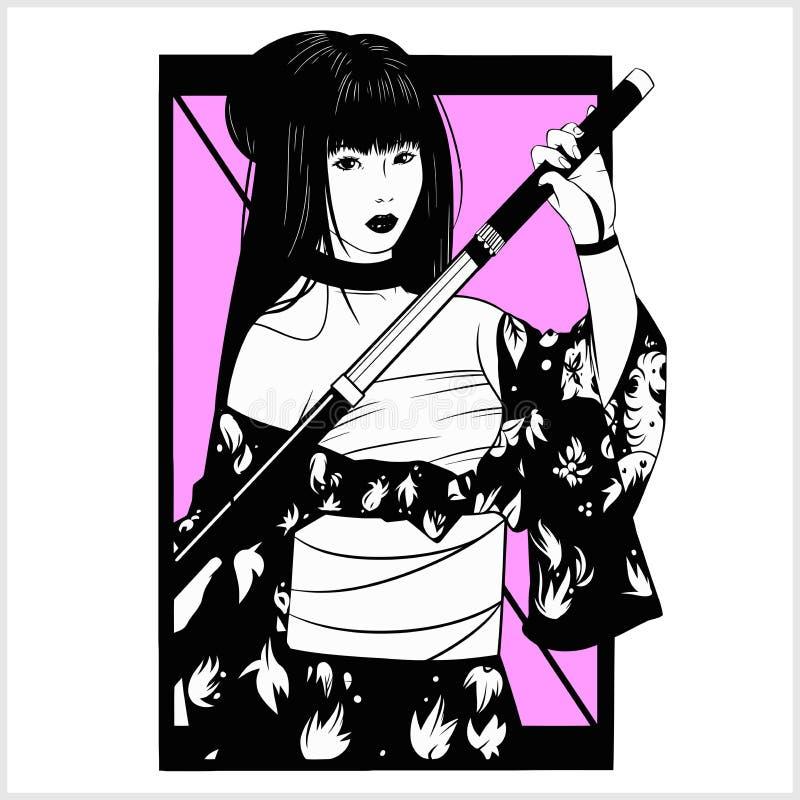 Dise?o blanco y negro del vector de la mujer japonesa hermosa del geisha y de la espada tradicional del katana stock de ilustración