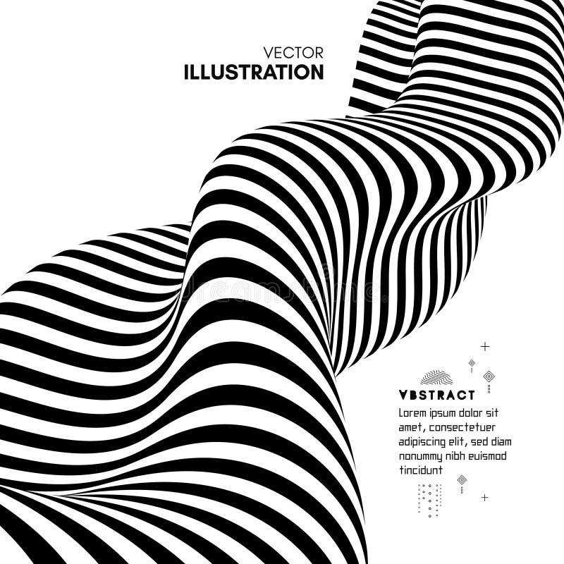 Dise?o blanco y negro Modelo con la ilusi?n ?ptica Fondo geom?trico abstracto 3d Ilustraci?n del vector ilustración del vector
