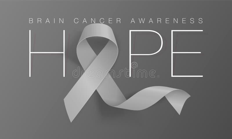 Dise?o de Brain Cancer Awareness Calligraphy Poster Esperanza Grey Ribbon realista Mayo es mes de la conciencia del c?ncer Vector libre illustration