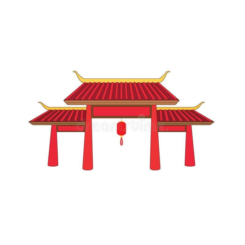 Dise?o de China de la fachada de la puerta en el fondo blanco stock de ilustración