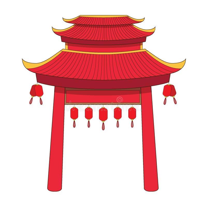 Dise?o de China de la fachada de la puerta en el fondo blanco ilustración del vector