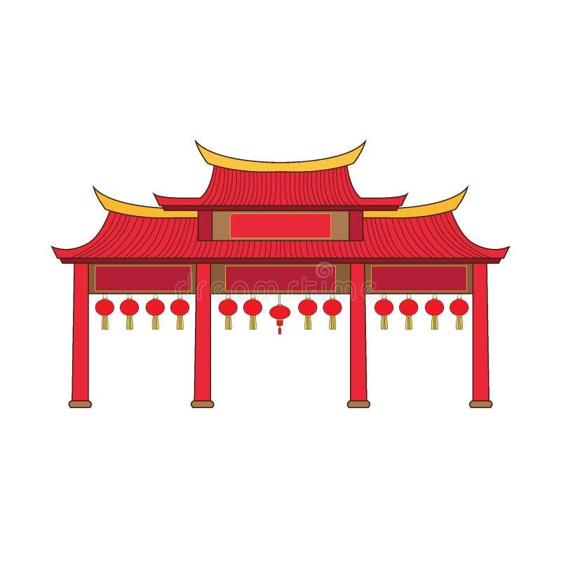 Dise?o de China de la fachada de la puerta en el fondo blanco libre illustration