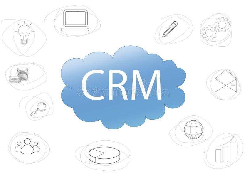 Dise?o de concepto de CRM con los elementos del vector Iconos planos del plan contable, tareas de planificación, gráficos, ayuda, stock de ilustración