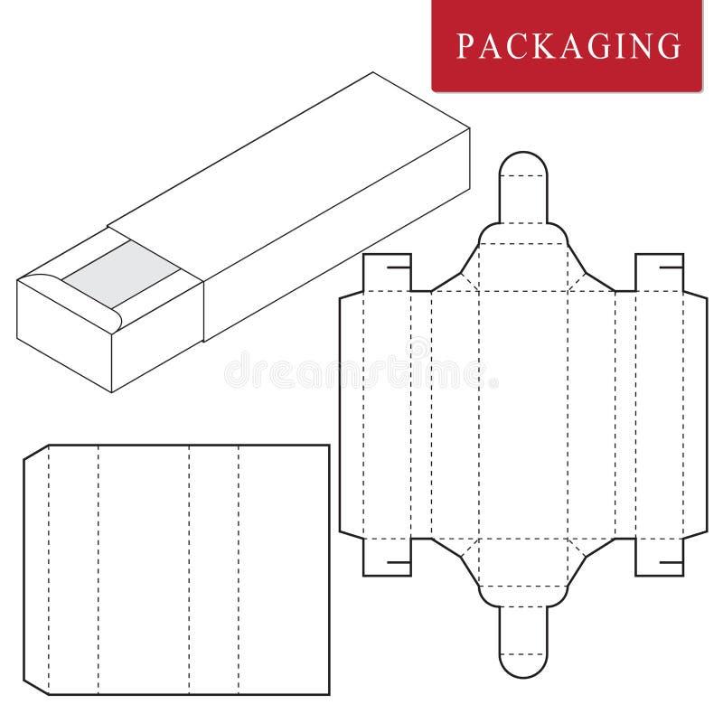 Dise?o de empaquetado Ejemplo del vector de la caja plantilla del paquete o stock de ilustración