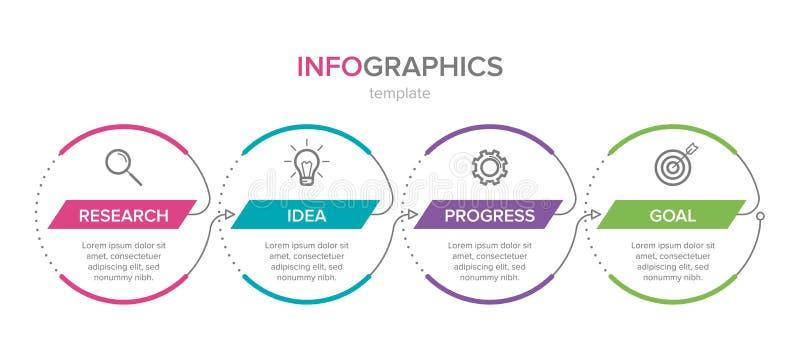 Dise?o de Infographic con los iconos y 4 opciones o pasos L?nea fina vector Concepto del negocio de Infographics puede ser utiliz stock de ilustración