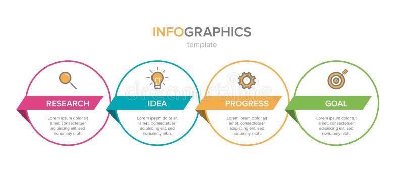 Dise?o de Infographic con los iconos y 4 opciones o pasos L?nea fina vector Concepto del negocio de Infographics puede ser utiliz libre illustration