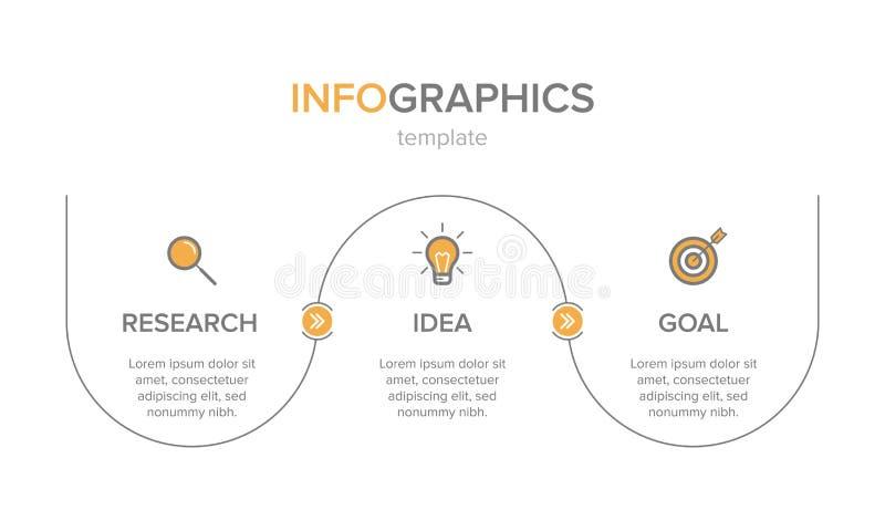 Dise?o de Infographic con los iconos y 3 opciones o pasos L?nea fina vector Concepto del negocio de Infographics puede ser utiliz ilustración del vector