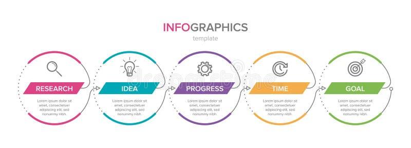 Dise?o de Infographic con los iconos y 5 opciones o pasos L?nea fina vector Concepto del negocio de Infographics puede ser utiliz libre illustration