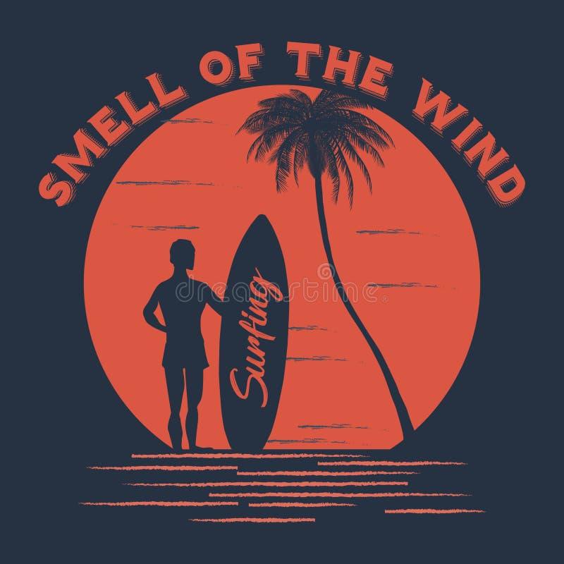 Dise?o de la camiseta del verano Olor del lema del viento Ilustraci?n del vector EPS 10 ilustración del vector