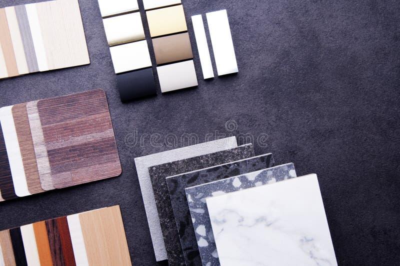 Dise?o de la construcci?n Concepto de diseño material interior Muestras de piso de madera de la textura de baldosa de la lamina y foto de archivo libre de regalías