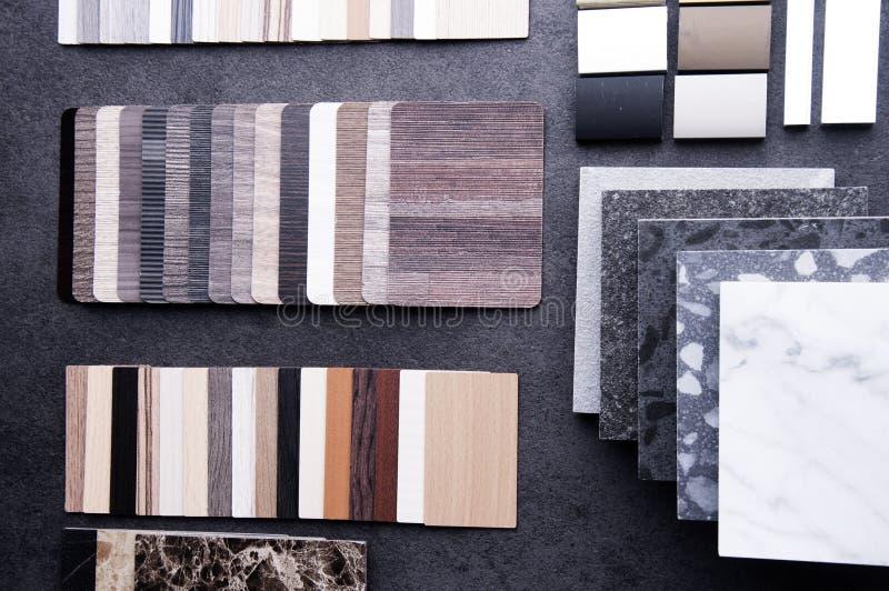 Dise?o de la construcci?n Concepto de diseño material interior Muestras de piso de madera de la textura de baldosa de la lamina y fotografía de archivo libre de regalías