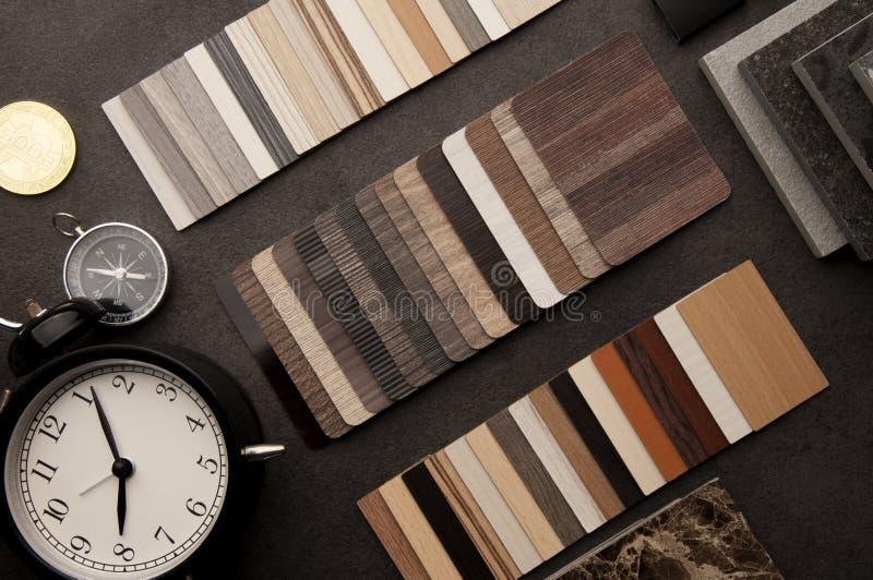 Dise?o de la construcci?n Concepto de diseño material interior Muestras de piso de madera de la textura de baldosa de la lamina y fotografía de archivo