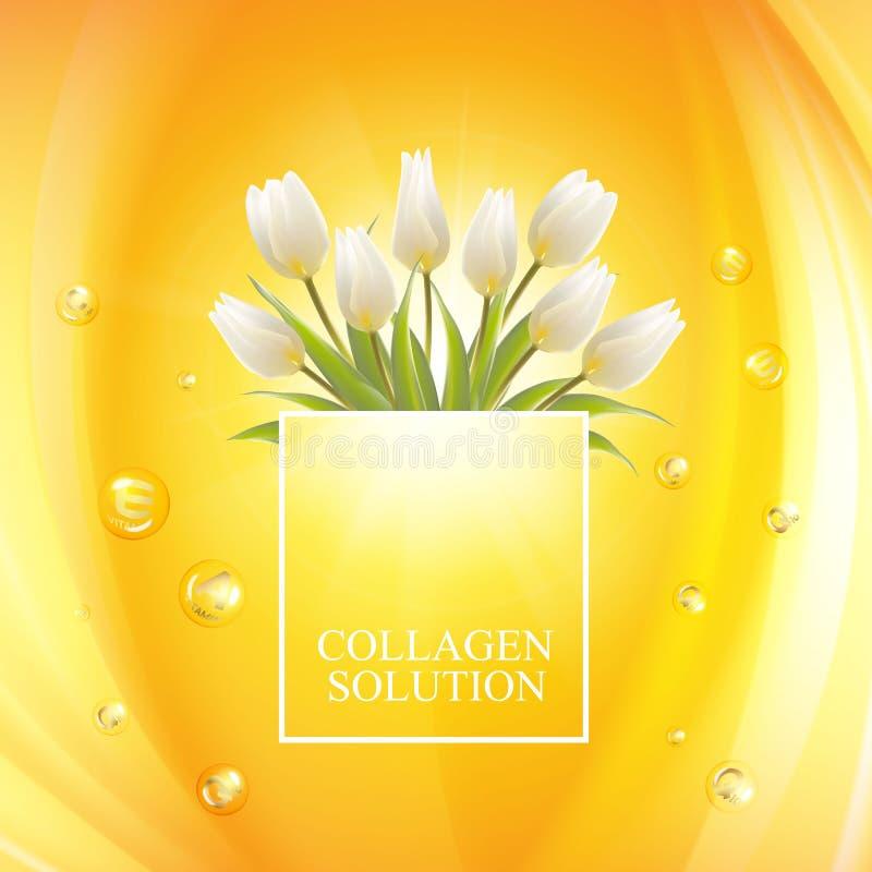 Dise?o de la etiqueta de la protecci?n solar para sus vacaciones de verano Concepto del cuidado de piel Ramo blanco de las flores stock de ilustración