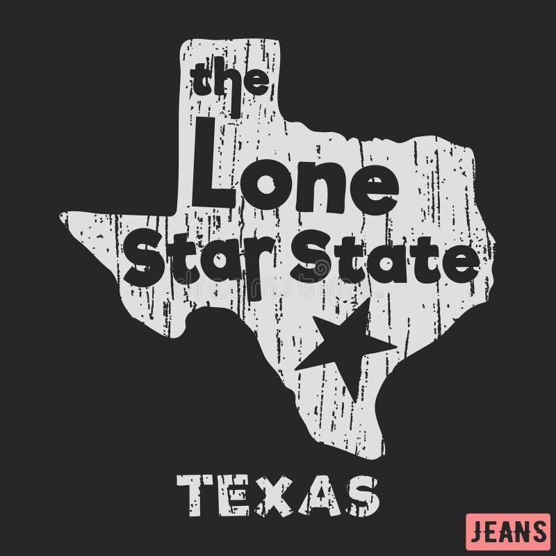 Dise?o de la impresi?n de la camiseta Tejas - el sello solitario del vintage del estado de la estrella Impresión e insignia, appl libre illustration