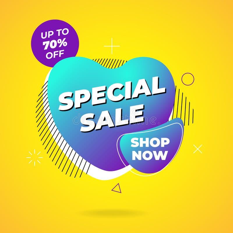 Dise?o de la plantilla de la bandera de la venta Tienda de la venta especial ahora en forma líquida abstracta Gráfico coloreado d ilustración del vector