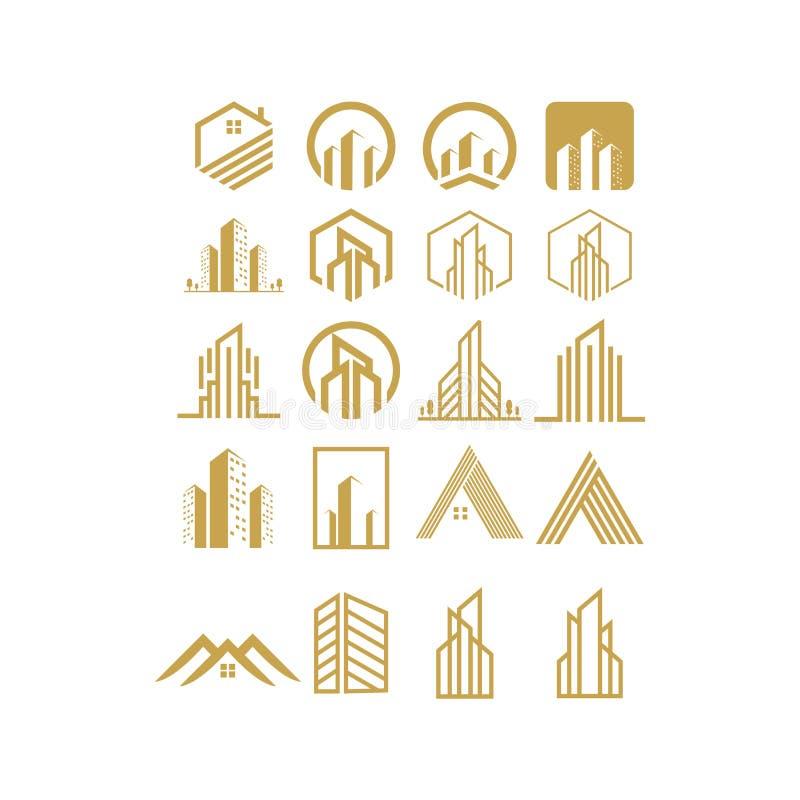 Dise?o de las propiedades inmobiliarias del sistema del logotipo, vector, ejemplo libre illustration