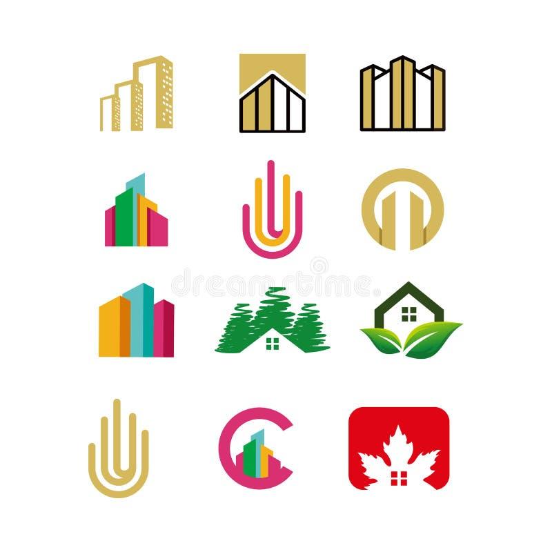 Dise?o de las propiedades inmobiliarias del sistema del logotipo, vector, ejemplo stock de ilustración
