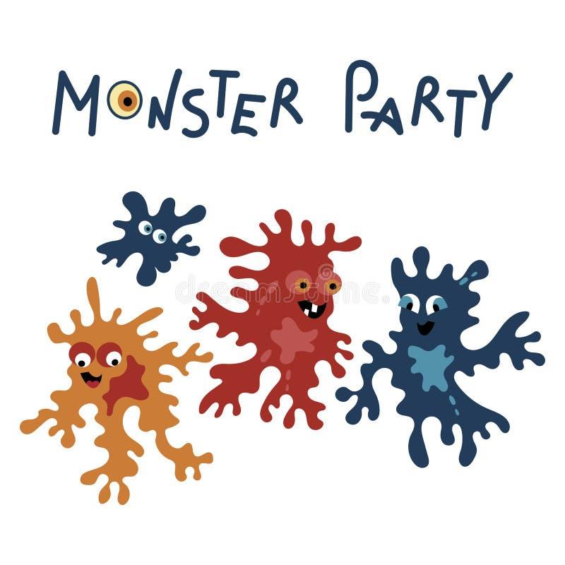 Dise?o de tarjeta del partido del monstruo Ilustraci?n del vector stock de ilustración