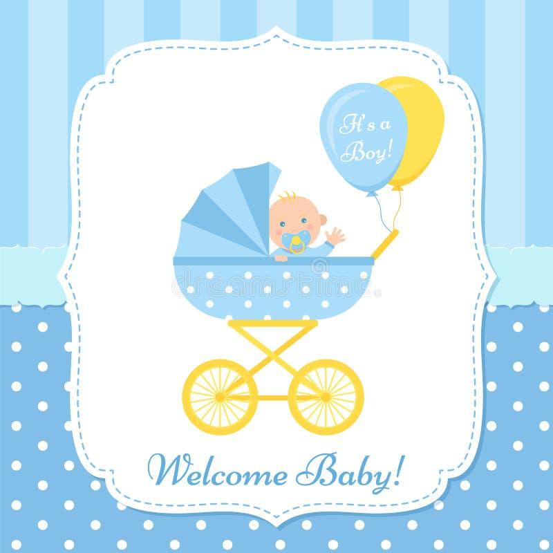 Dise?o de tarjeta de la fiesta de bienvenida al beb? Ilustraci?n del vector La plantilla del cumpleaños invita libre illustration