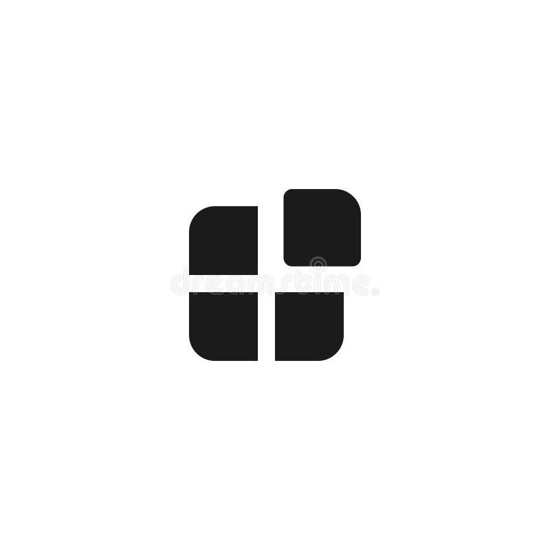 Dise?o del icono del uso cuadrado cuatro con un símbolo separado de la caja vector profesional limpio simple del concepto de la g libre illustration