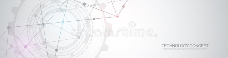 Dise?o del jefe o de la bandera de la p?gina web con el fondo geom?trico abstracto y puntos y l?neas de conexi?n Red global libre illustration