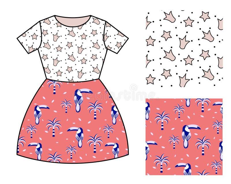Dise?o del modelo del vestido para las muchachas Sistema inconsútil del modelo de las coronas y de los pájaros del tucán libre illustration