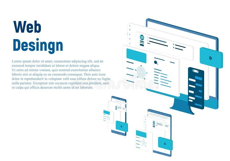 Dise?o del modelo del Web site Concepto moderno del ejemplo del vector de dise?o de la p?gina web para el desarrollo del sitio we ilustración del vector