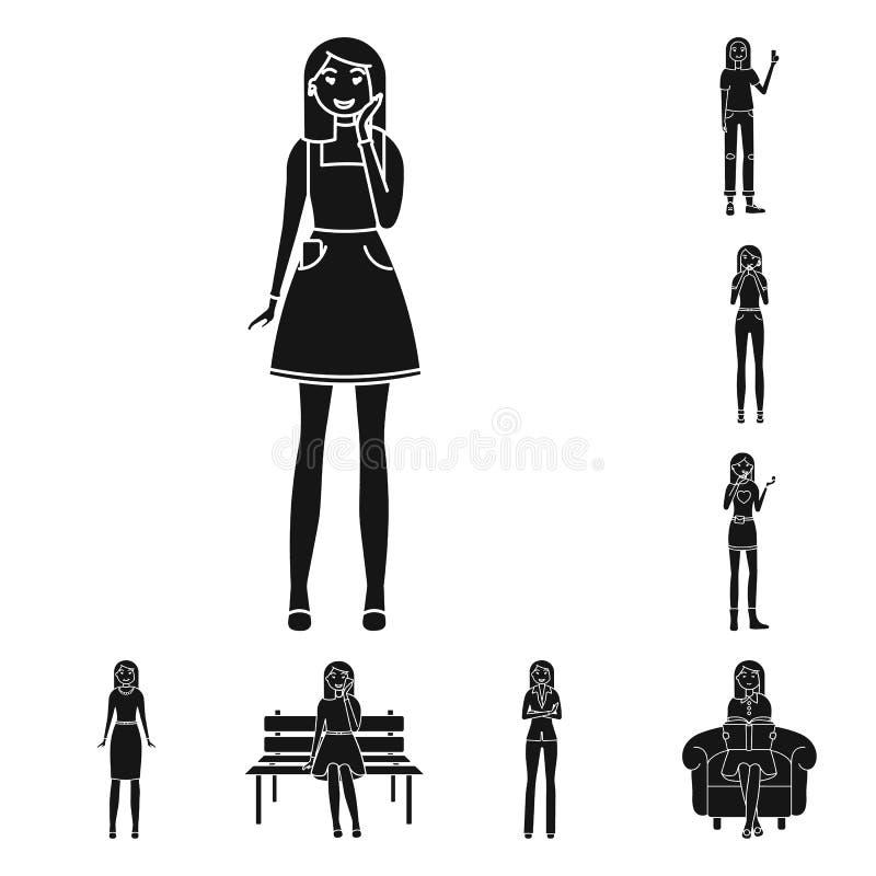 Dise?o del vector de emociones y de logotipo femenino Colecci?n de emociones y de ejemplo del vector de la acci?n del cuerpo libre illustration