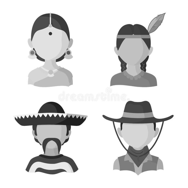 Dise?o del vector de icono de la persona y de la cultura Fije del icono del vector de la persona y de la raza para la acci?n stock de ilustración