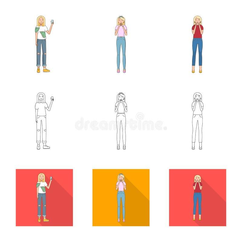 Dise?o del vector de icono de la postura y del humor Colecci?n de postura e icono femenino del vector para la acci?n stock de ilustración