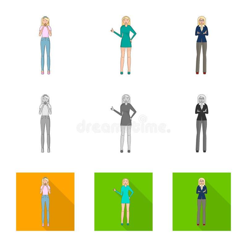 Dise?o del vector de icono de la postura y del humor Colecci?n de postura e icono femenino del vector para la acci?n libre illustration