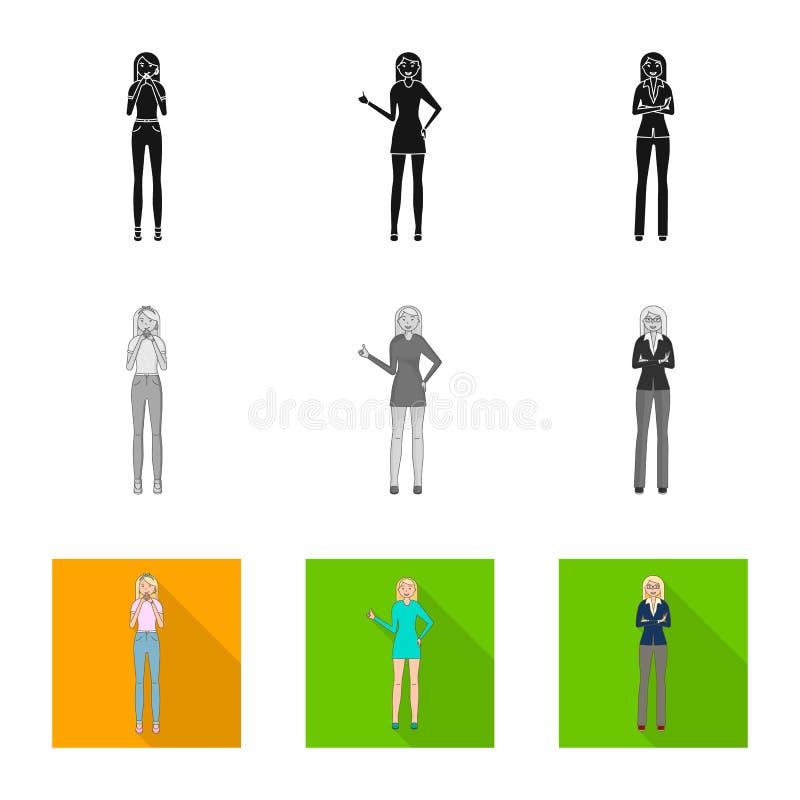 Dise?o del vector de icono de la postura y del humor Fije de postura y del ejemplo com?n femenino del vector ilustración del vector