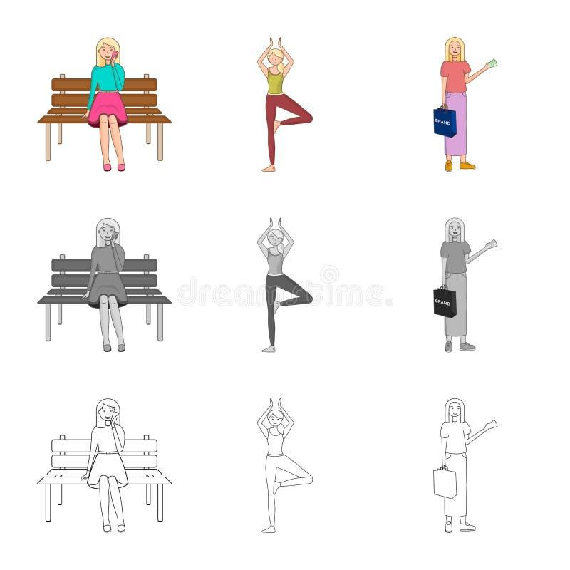 Dise?o del vector de icono de la postura y del humor Fije de postura y del s?mbolo com?n femenino para la web ilustración del vector