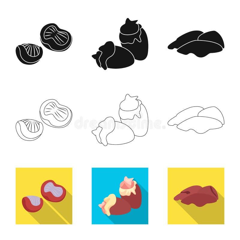 Dise?o del vector de icono del producto y de las aves de corral Colecci?n de producto y de s?mbolo com?n de la agricultura para l stock de ilustración