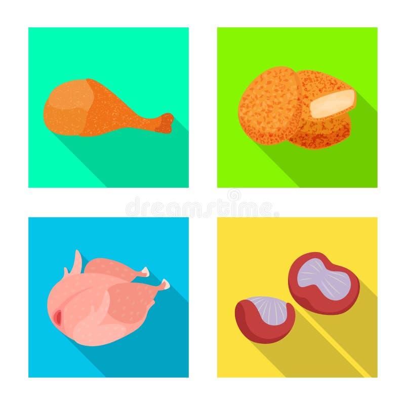 Dise?o del vector de icono del producto y de las aves de corral Fije de producto y del s?mbolo com?n de la agricultura para la we stock de ilustración