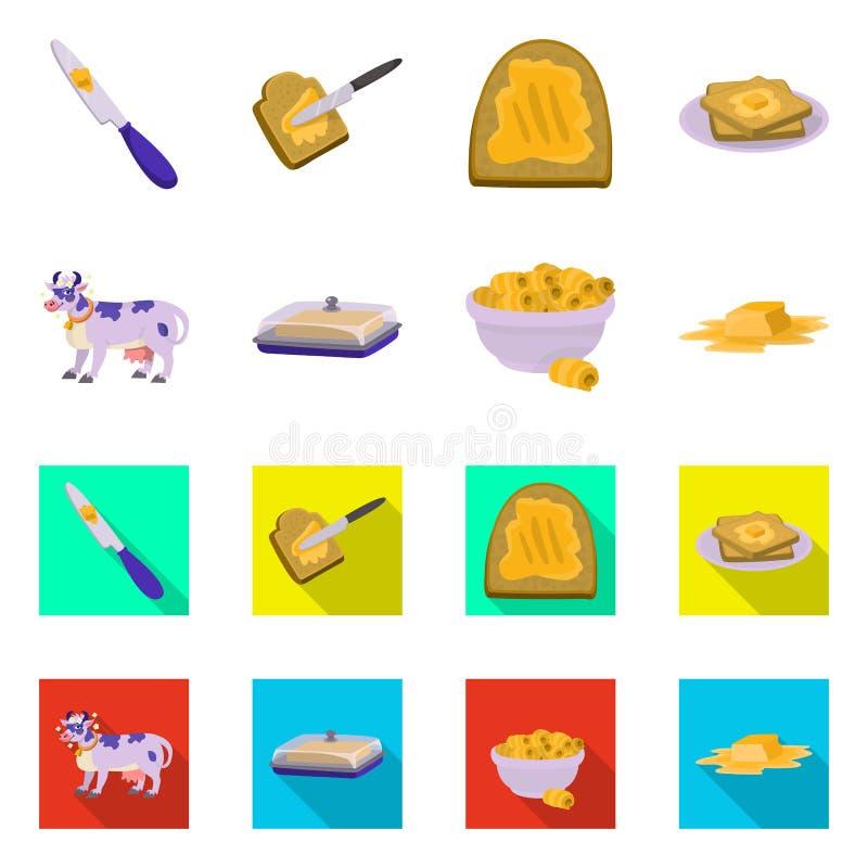 Dise?o del vector de logotipo cremoso y del producto Colecci?n de com?n cremoso y s?mbolo de granja para la web ilustración del vector