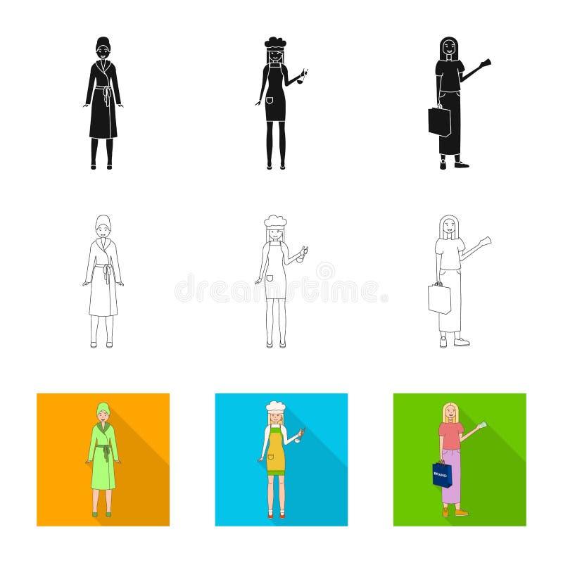 Dise?o del vector de logotipo de la postura y del humor Colecci?n de postura e icono femenino del vector para la acci?n stock de ilustración
