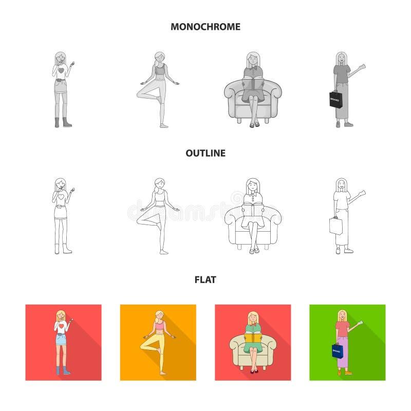 Dise?o del vector de muestra de la postura y del humor Fije de postura y del s?mbolo com?n femenino para la web stock de ilustración