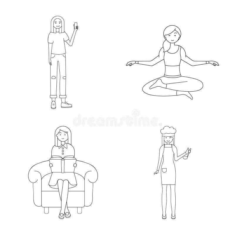 Dise?o del vector de muestra de la postura y del humor Fije de postura y del s?mbolo com?n femenino para la web libre illustration
