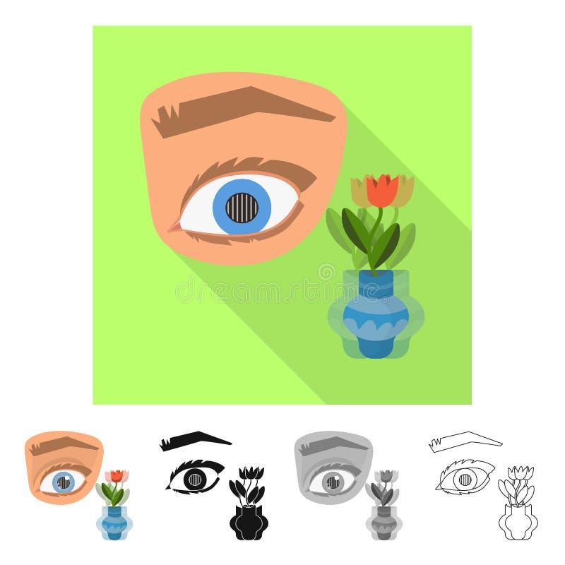 Dise?o del vector de ojo y de s?mbolo pobre Colecci?n de ojo e icono del vector de la ceguera para la acci?n stock de ilustración