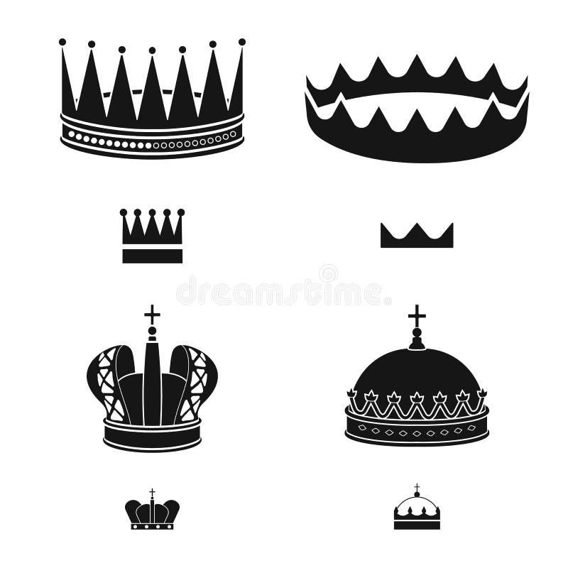 Dise?o del vector de rey y de icono majestuoso Colecci?n de ejemplo del vector de la acci?n del rey y de oro stock de ilustración