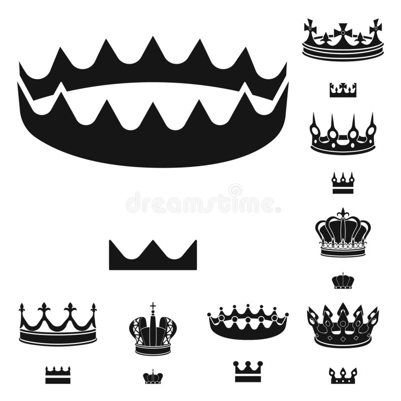 Dise?o del vector de rey y de icono majestuoso Colecci?n de s?mbolo com?n del rey y de oro para la web stock de ilustración